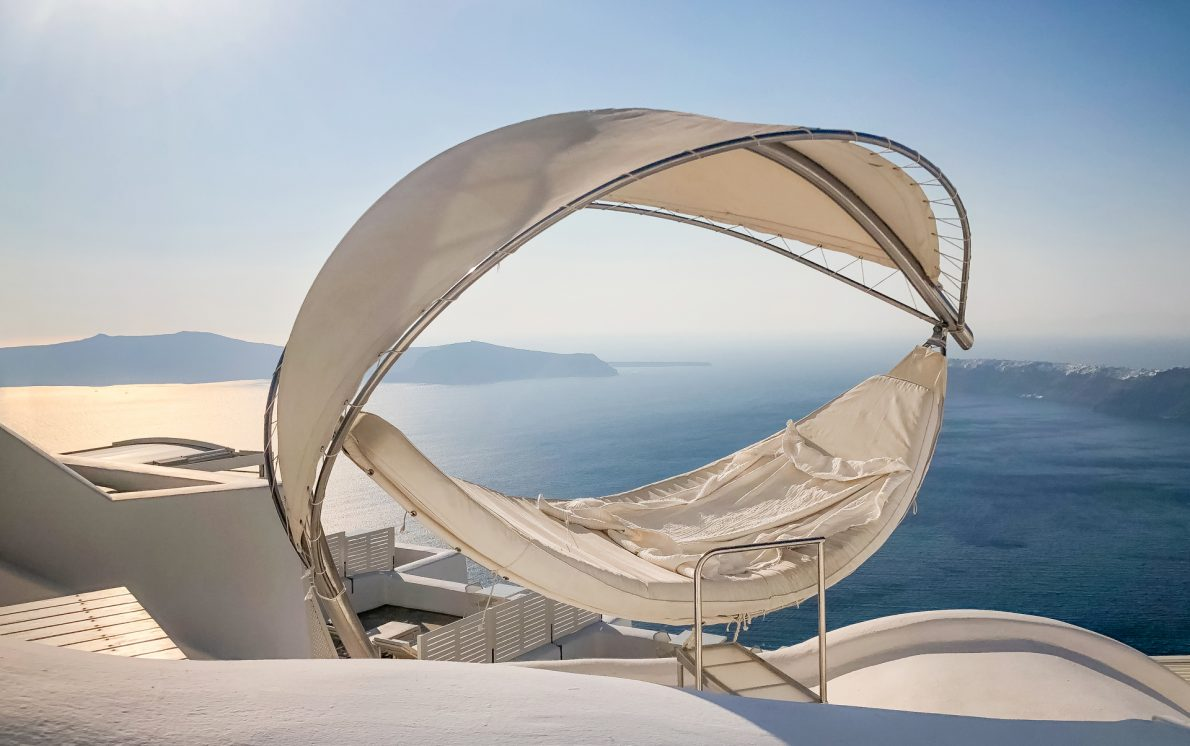 lounge bed ocean views imerovigli santorini greece