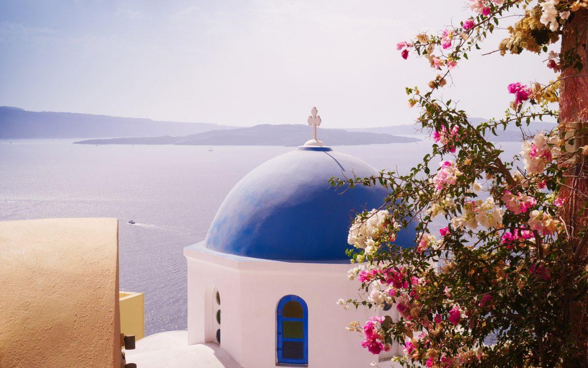 church and ocean views oia santorini greece