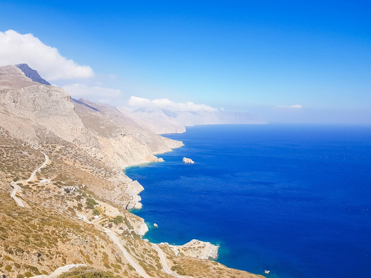 endless blue waters and mountain views amorgos greece