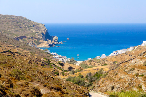 view over agali beach folegandros greece