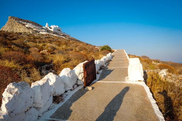 view panagia church over folegandros greece