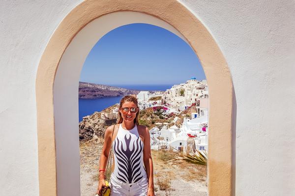 gate and ocean views oia santorini greece