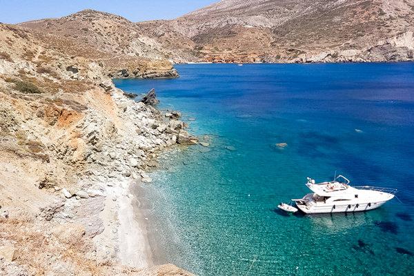 view over papalagi beach folegandros greece
