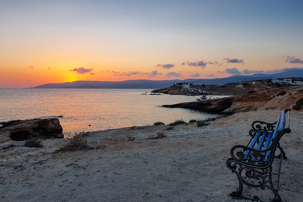 sunset bench koufonisi koufonissia greece