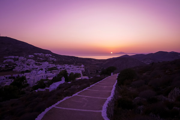 sunset view over folegandros greece