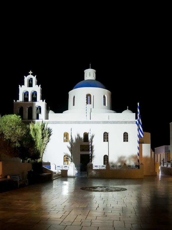 nightshot church oia santorini greece