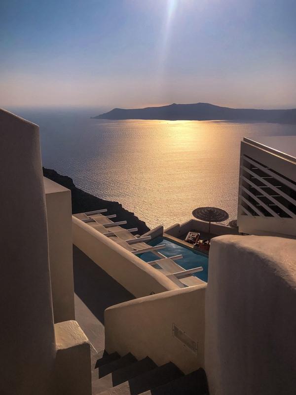 sunset imerovigli santorini greece