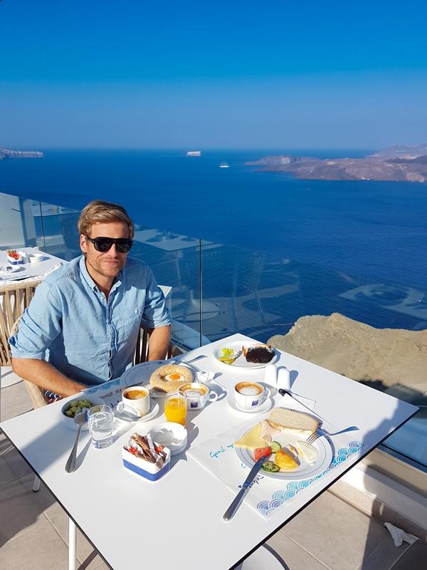 breakfast caldera volcano view santorini greece